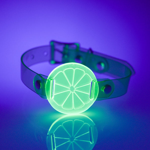 Apatico and Anhedonie choker collar necklace in neon uv green with acrylic citrus center.