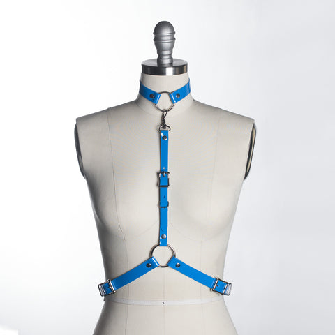 apatico - blue pvc harness - detachable choker collar - pop of color - statement accessories - harness belt - pastelgoth nugoth style - seattle fashion designer