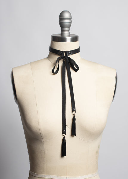 Ribbon Tassel Choker Collar
