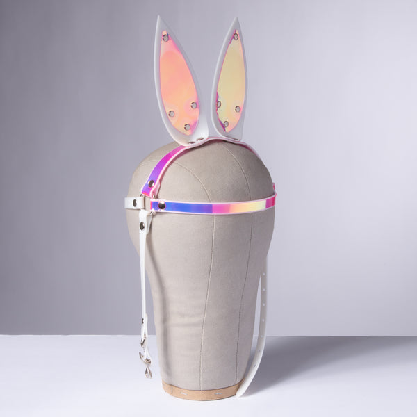White Holographic Bunny Ears Headpiece