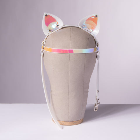 White Holographic Cat Ears Headpiece