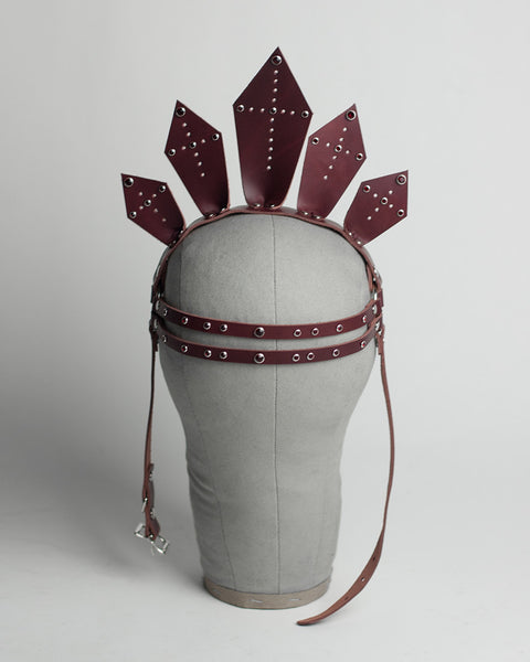 Celeste Crown - Apatico - Leather Harness crown - clear pvc, black, oxblood with studs and crystals.  Iconography, sacred heart, halo inspired spiked headpiece.