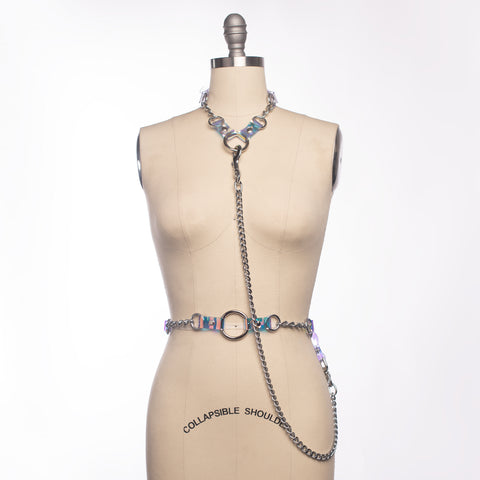 Holographic Industrial Draped Chain Harness Set
