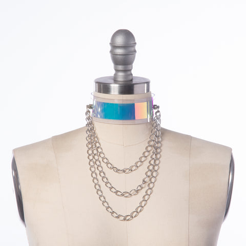 Holographic Draped Chain Choker Collar