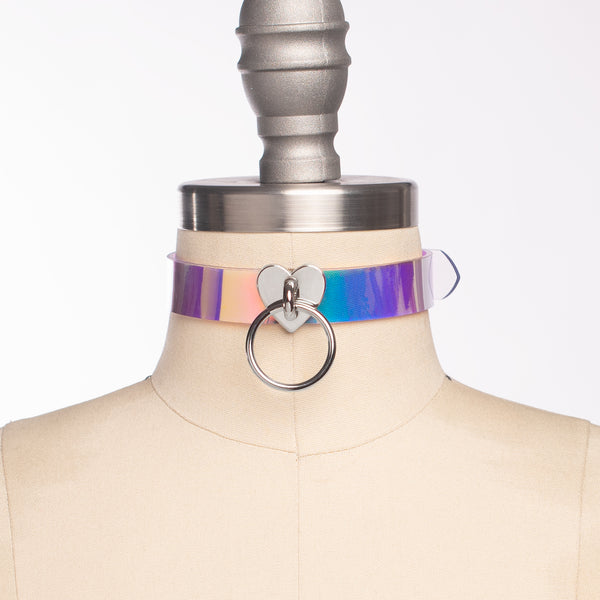 Iridescent Heart Choker Collar