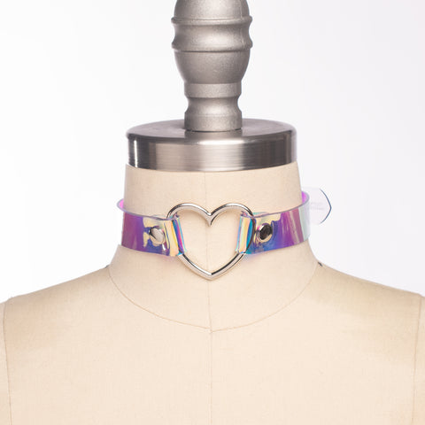 Holographic Heart Ring Choker Collar