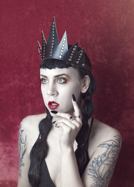 Bianca Crown - Apatico - Spiked Studded Leather Crown - Clear Pvc - Gothic Evil Queen Headpiece - Dramatic Tiara Headdress.