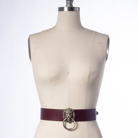Oxblood Leo Lion Waist Belt