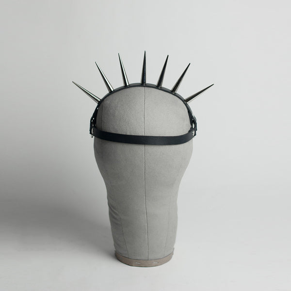 Lucrezia spiked harness headpiece - punk sunburst crown - leather or pvc