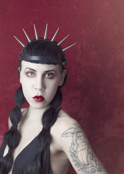 Lucrezia spiked harness headpiece - gothic sunburst crown - leather or pvc - on model