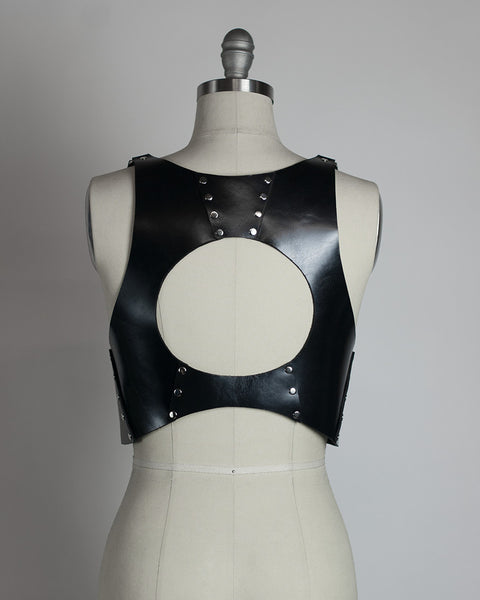 Luna Harness Vest - Leather or pvc crop top - gothic full moon fashion for witches - occult style circle cutout - Apatico.