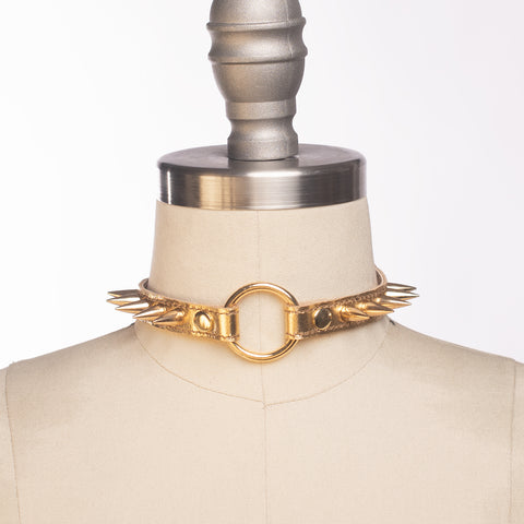 Metallic Spiked Choker Collar