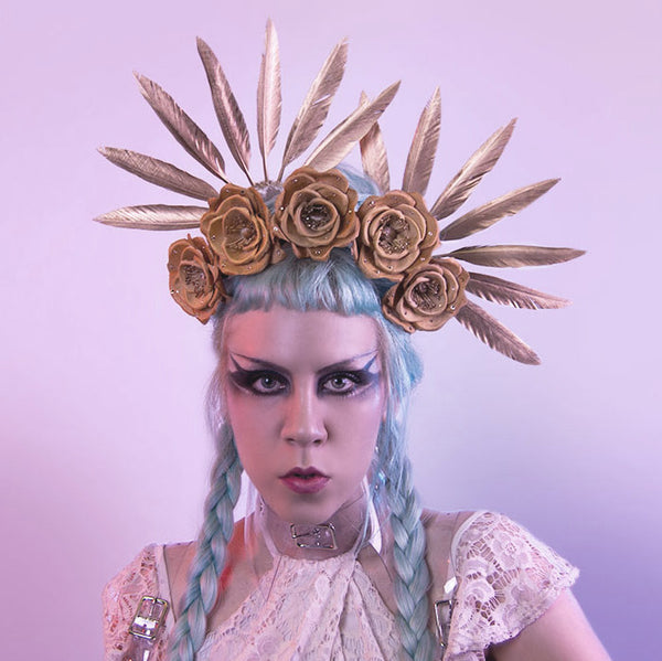 Anna Feather Hair Fans - Apatico - Gold feather hair sticks - spiked headdress - valkyrie headpiece - gilded millinery.