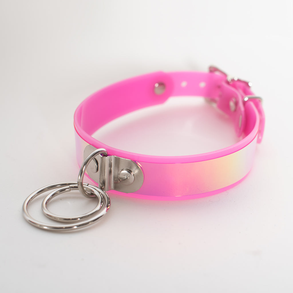 Pink Holographic O-Ring Choker Collar