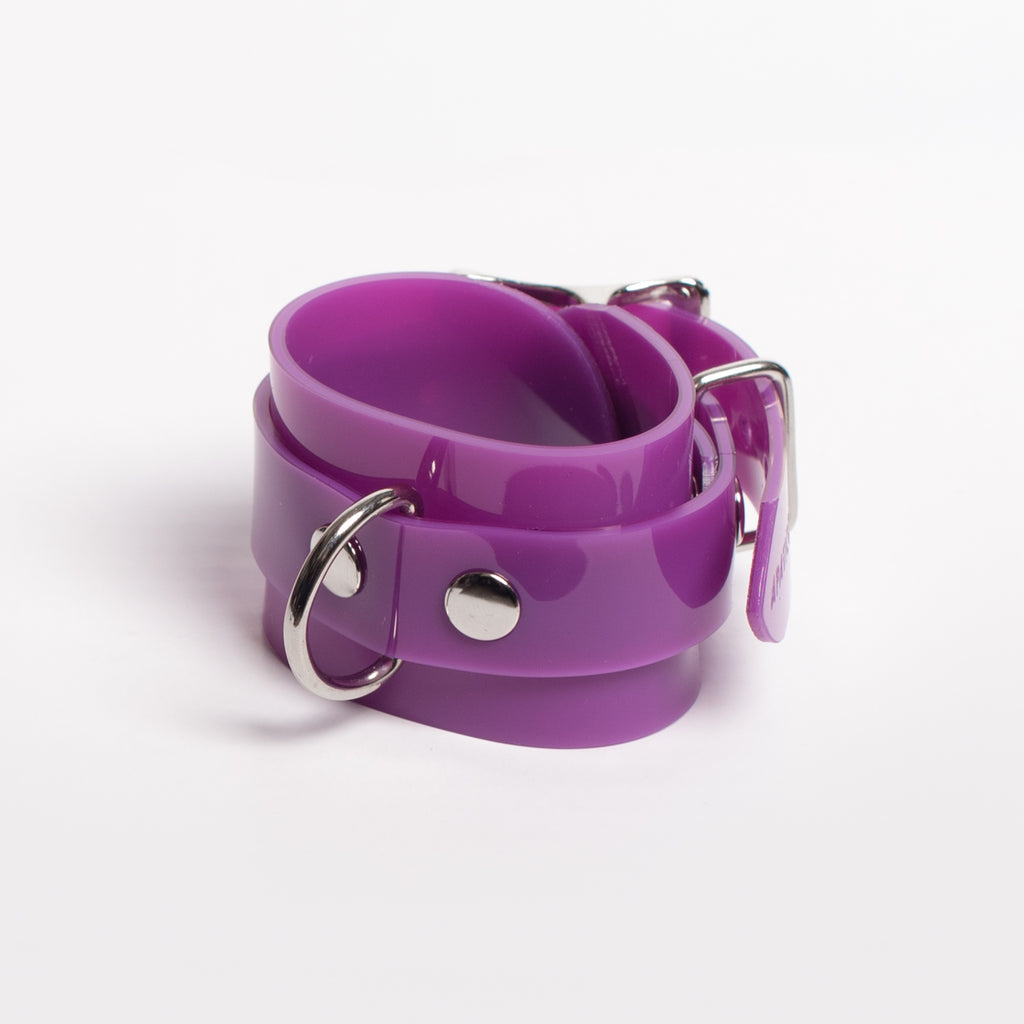 Purple Bondage D-Ring Cuff Bracelet
