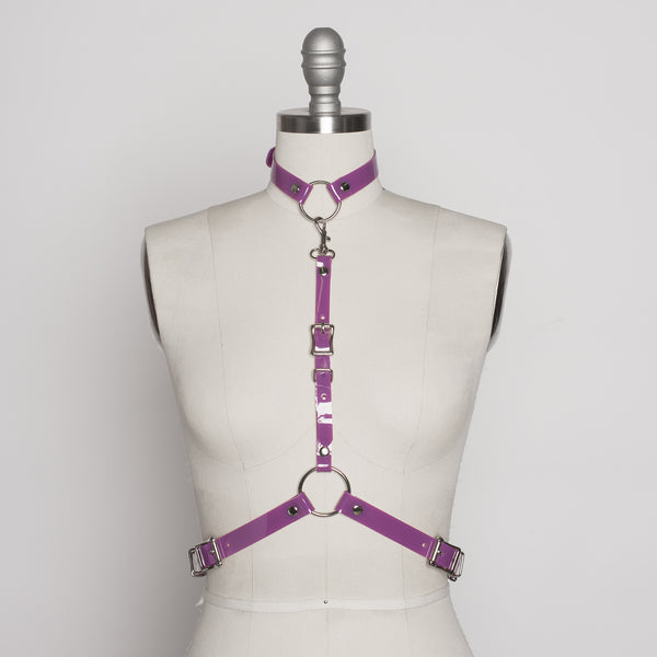 Apatico - purple pvc harness - detachable choker collar - pastelgoth nugoth fashion - statement accessory - violet pvc - pop of color - seattle fashion designer