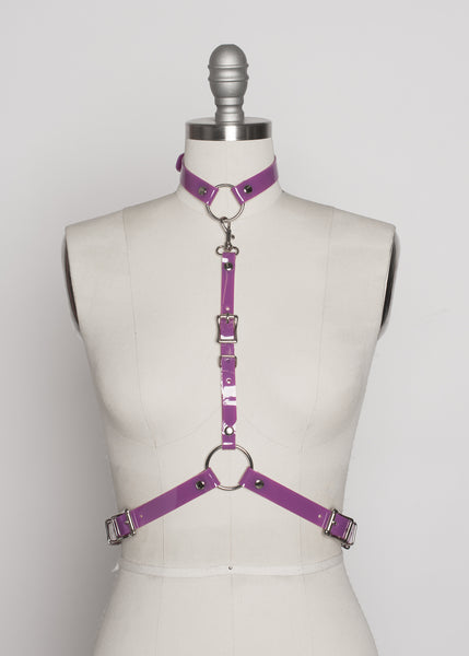 Apatico - purple pvc harness - detachable choker collar - pastelgoth nugoth fashion - statement accessory - violet pvc - pop of color - seattle fashion designer - front