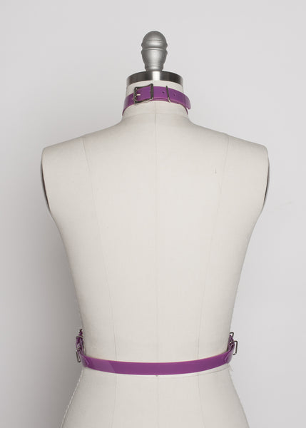 Apatico - purple pvc harness - detachable choker collar - pastelgoth nugoth fashion - statement accessory - violet pvc - pop of color - seattle fashion designer - back