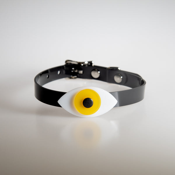 Apatico eyeball choker collar in yellow for Pride.