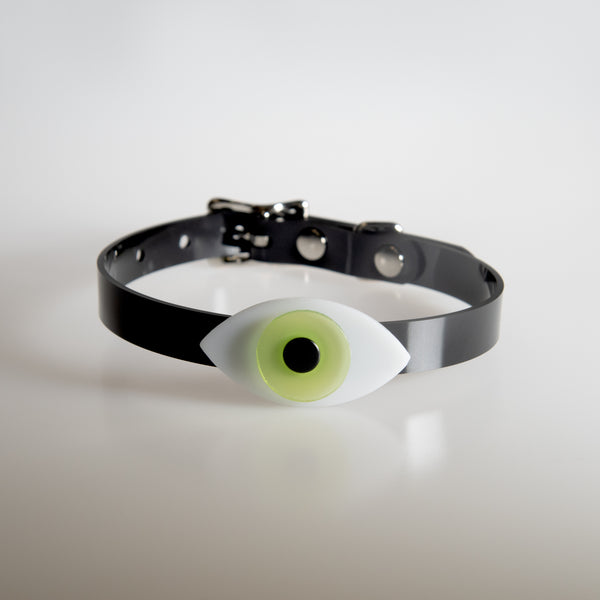 Apatico eyeball choker collar in lime green for Pride.