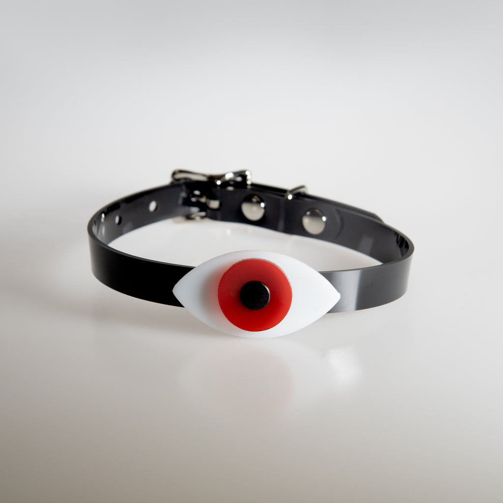 Apatico eyeball choker collar in red for Pride.