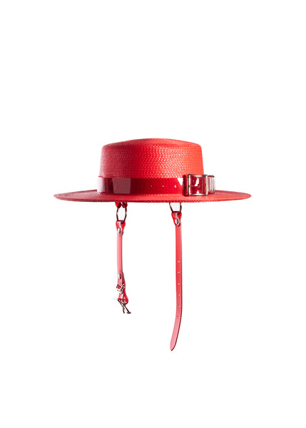 Red wide brim faux straw hat with translucent red pvc harness strap details.