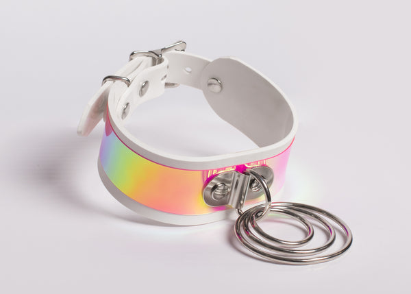 Pastel Rainbow Holographic O-Ring Choker Collar