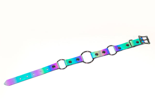 Reflective Rainbow Linked O-Ring Choker Collar