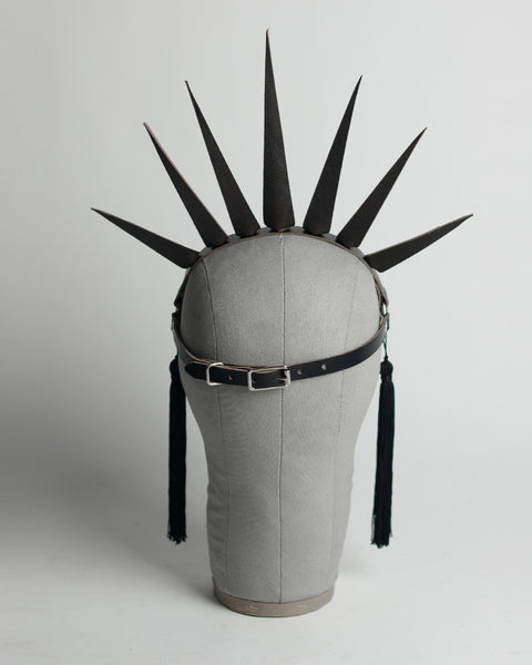Apatico Strega Crown - spiked harness crown headpiece with studding and tassels - back view.