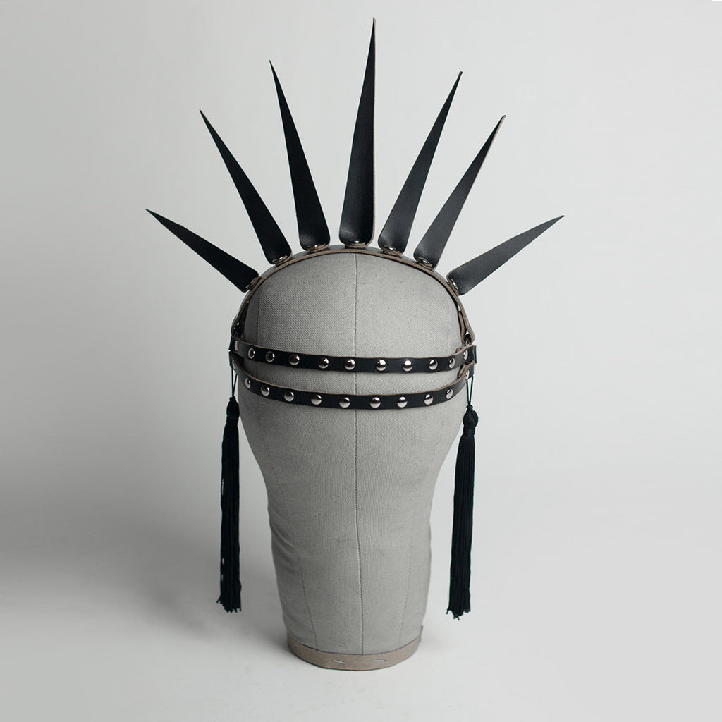 Apatico Strega Crown - spiked harness crown headpiece with studding and tassels.