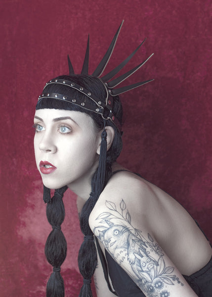 Apatico Strega Crown - spiked harness crown headpiece with studding and tassels.  Worn.