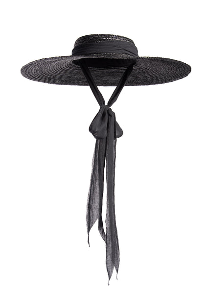 Black wide brim straw hat with long gauze ties - cottagegoth summer witchy beach hat.