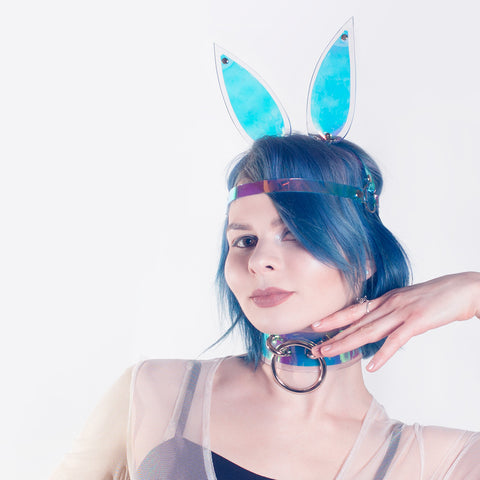Holographic Bunny Ears Headpiece