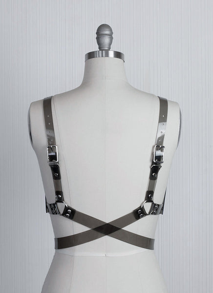 Contour bra harness - Apatico - Wraparound belt with open cups.  Clear pvc or leather.  Gothic fetish fashion for bondage inspired style.