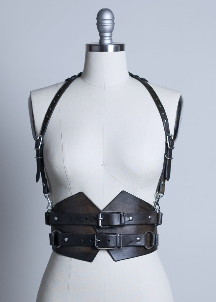 corset harness belt distressed leather gothic waist cincher halter wasteland post apocalyptic dystopian black gauze fringe cape black brown buckles apatico fantasy_1024x1024?v=1470722093 apatico gothic millinery & harnesses rebecca halter harness harness belt at eliteediting.co