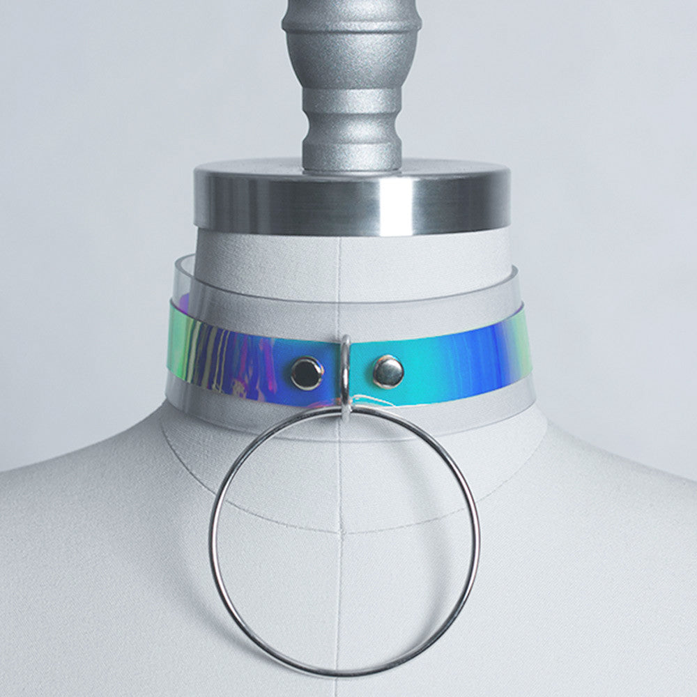 HOLOGRAPHIC O RING CHOKER COLLAR - APATICO - 1