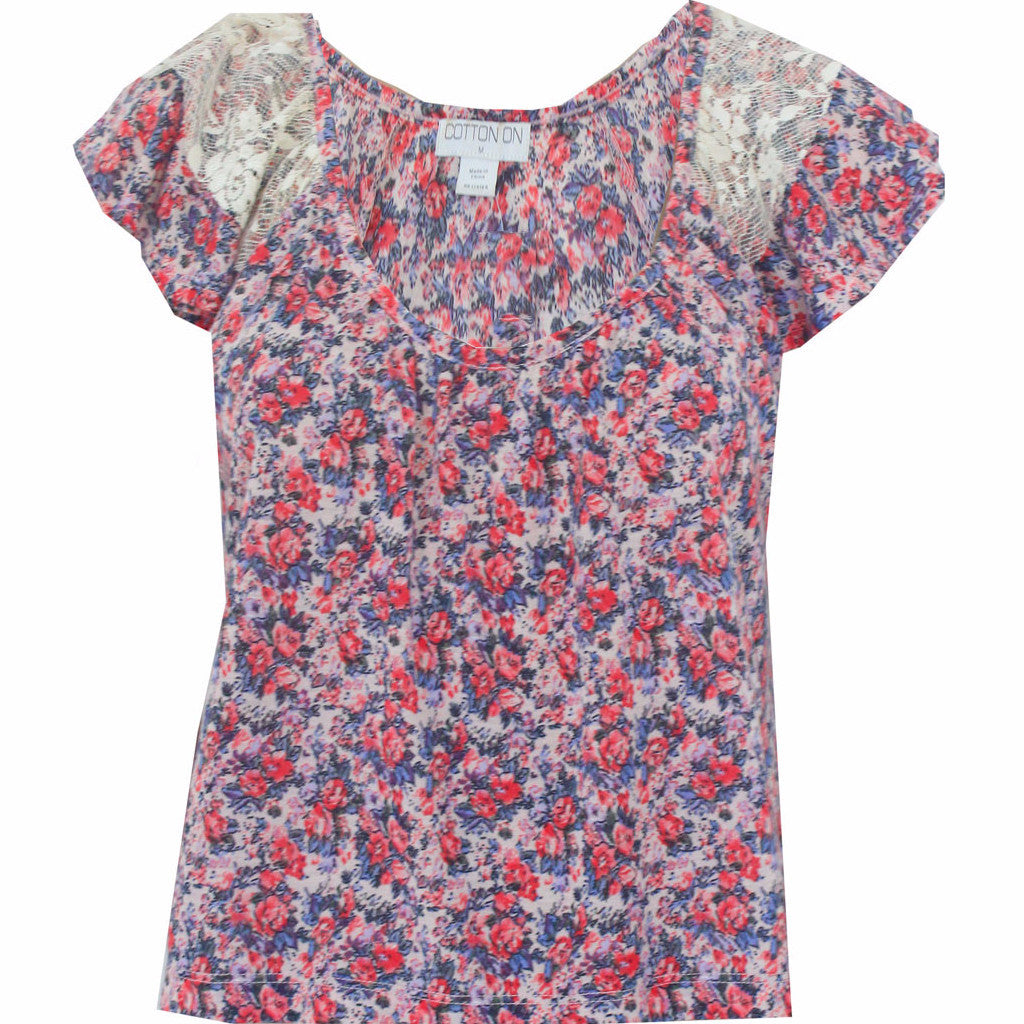 COTTON ON Light Blouse with Colorful Flowers Size [ M ] - VOWS Malaysia