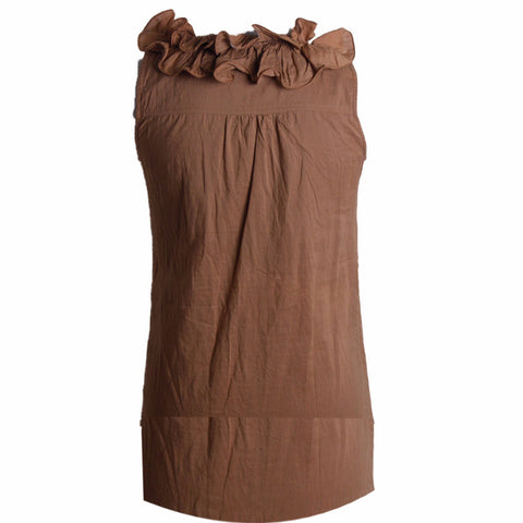 MISC Brown Summer Dress with Ruffles Size [S]