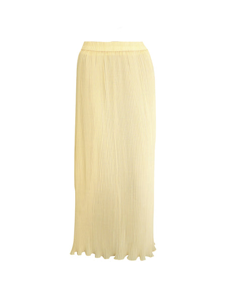 Light Yellow Pleated Maxi Skirt - Size [S-M] - VOWS Malaysia