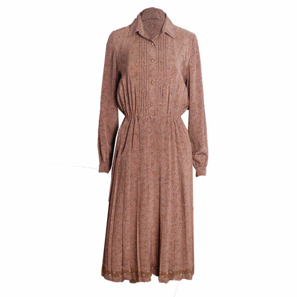 MISC Brown With Abstract Design Dress Size [9] - VOWS Malaysia