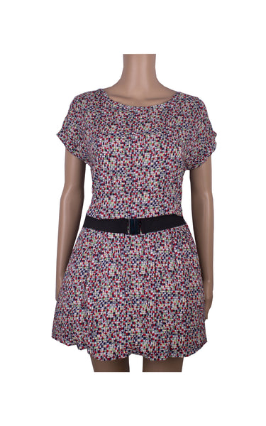 Abstract Cotton Dress with Belt [Size M]