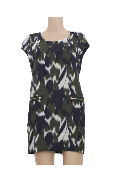Green Abstract Shift Dress [Size XS]