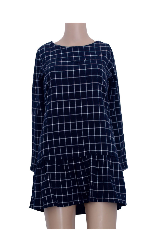 Chequered Mini Dress with Lace Sleeves [Size M] - VOWS Malaysia