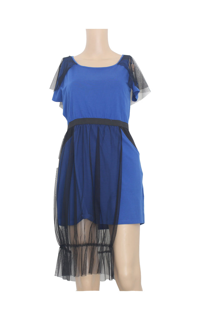 Blue Structured Dress with Tulle Details [Size M] - VOWS Malaysia