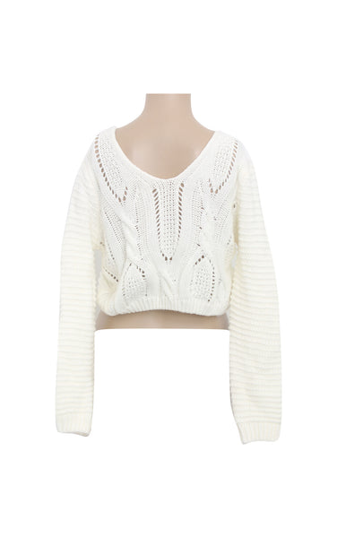Cropped Knitted Sweater with Back Tie [Size M] - VOWS Malaysia