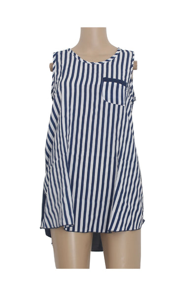 Striped Blue Tank Top [Size L] - VOWS Malaysia