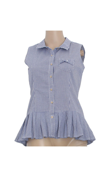 Cache Cache Plaid Sleeveless Shirt [Size M] - VOWS Malaysia