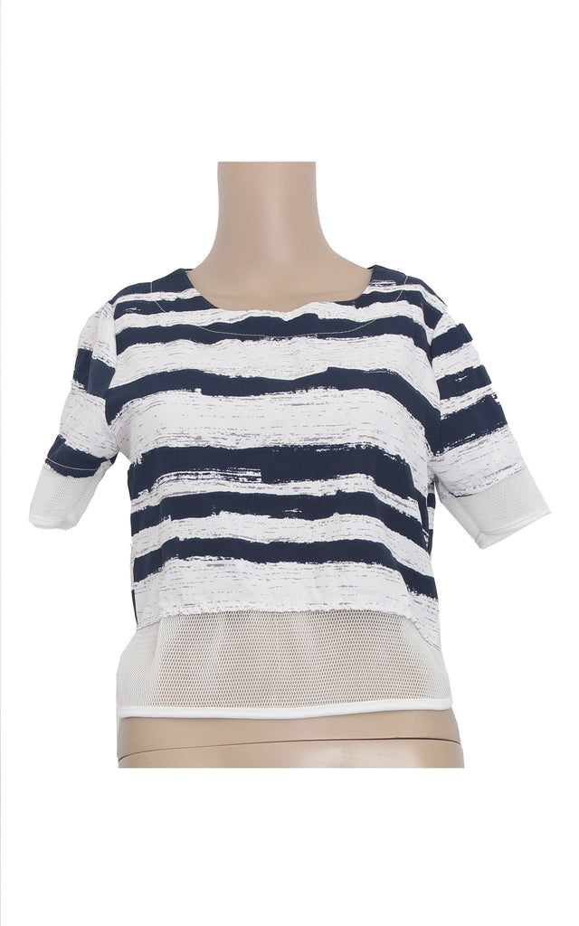 Striped Crop Top with Mesh Details [Size M] - VOWS Malaysia
