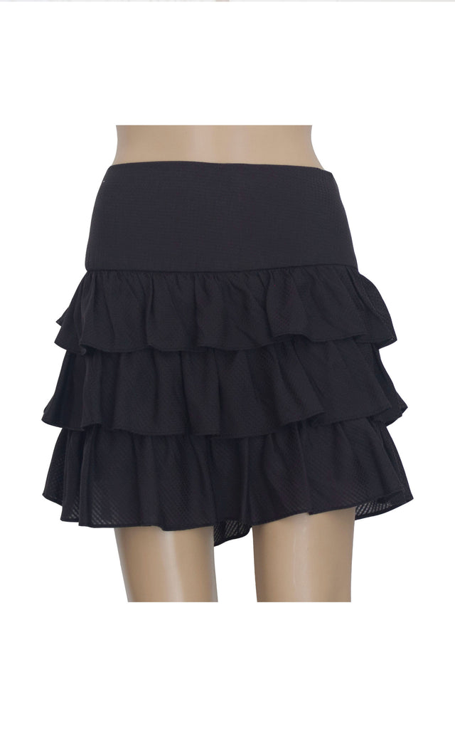 iora Black Mini Skirt with Ruffles [Size L] - VOWS Malaysia