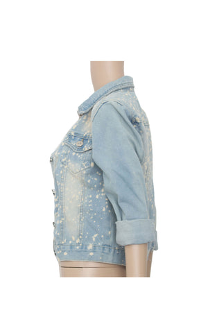 Denim Jacket with Paint Design [Size S] - VOWS Malaysia